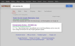 Erste Suchergebnis zu seomeo.de bei Google