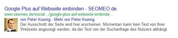 Ein Beispiel welche Auswirkung der Google Author Tag hat.