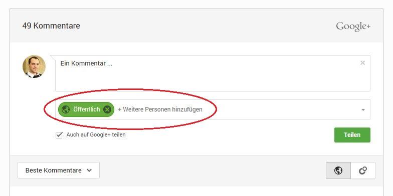 Google Plus Kommentarbox
